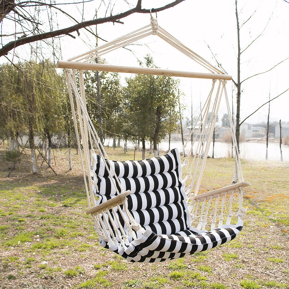 Outdoor hanging rope chair deluxe porch swing yard hammock cotton