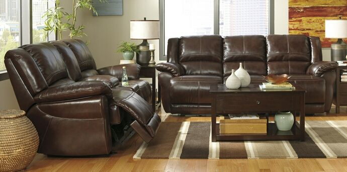 2 Pc Lenoris Collection Coffee Colored Leather Match Upholstered Sofa And Love Living Room Leather Furniture Leather Living Room Set