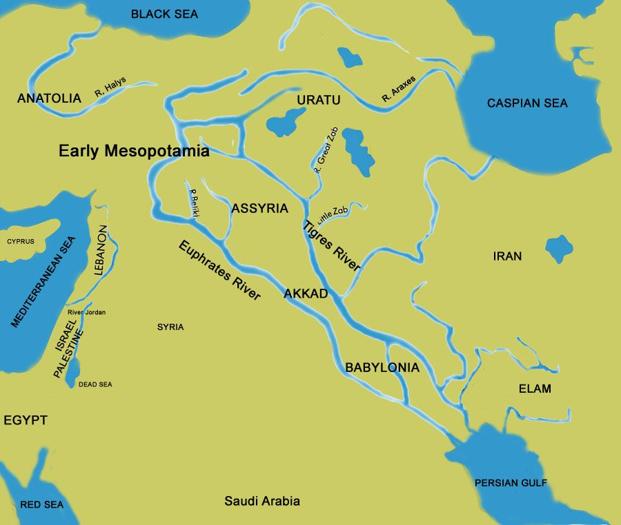 Mesopotamia comes from the ancient Greek land between rivers