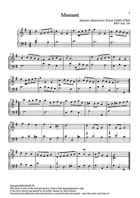 Paddestoelen muziek Minuet in G