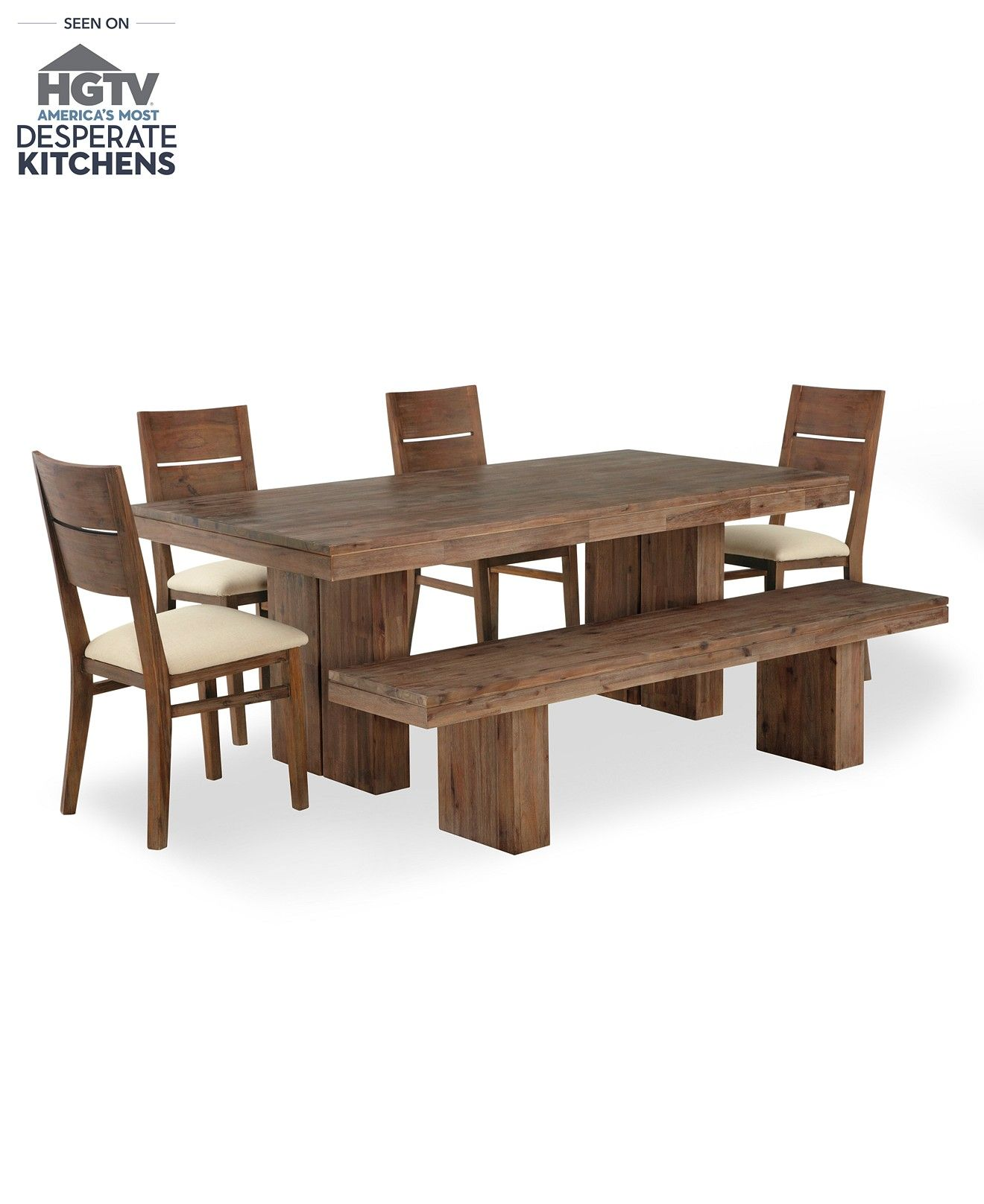 Champagne Dining Room Furniture, 6 Piece Set (Dining Table, 4 Side Chairs and 1 Bench) - Shop All Dining Room - Furniture - Macy's