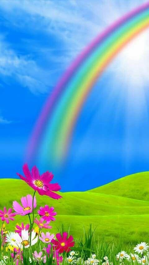 Beautiful Peaceful Blue Sky With A Perfect Rainbow God Of Rainbow Love Beautiful Nature Wallpaper Rainbow Wallpaper Backgrounds Phone Wallpapers