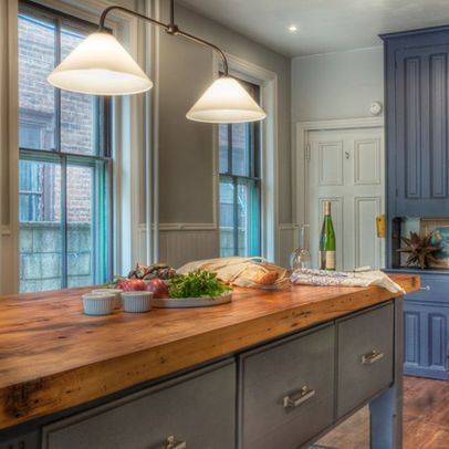 Furniture Awesome Farmhouse Kitchen Island With Butcher Block Countertop Wood Islands Reclaimed Planks