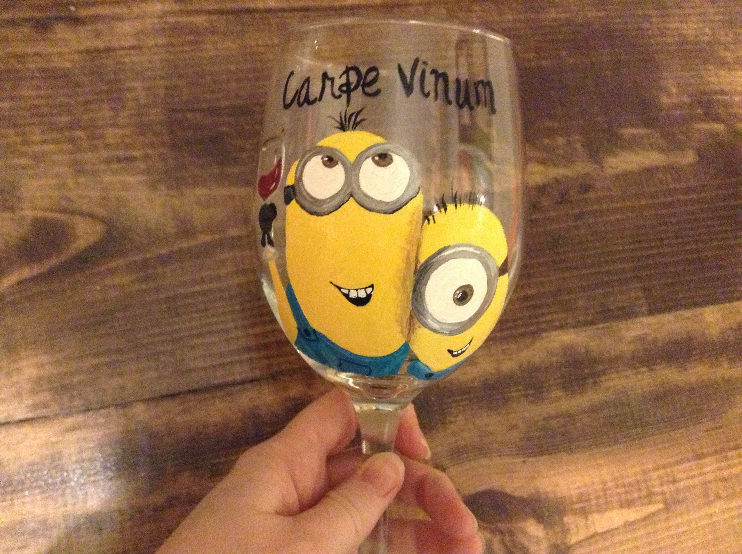 my new wine glass carpe vinum seize the wine minion style