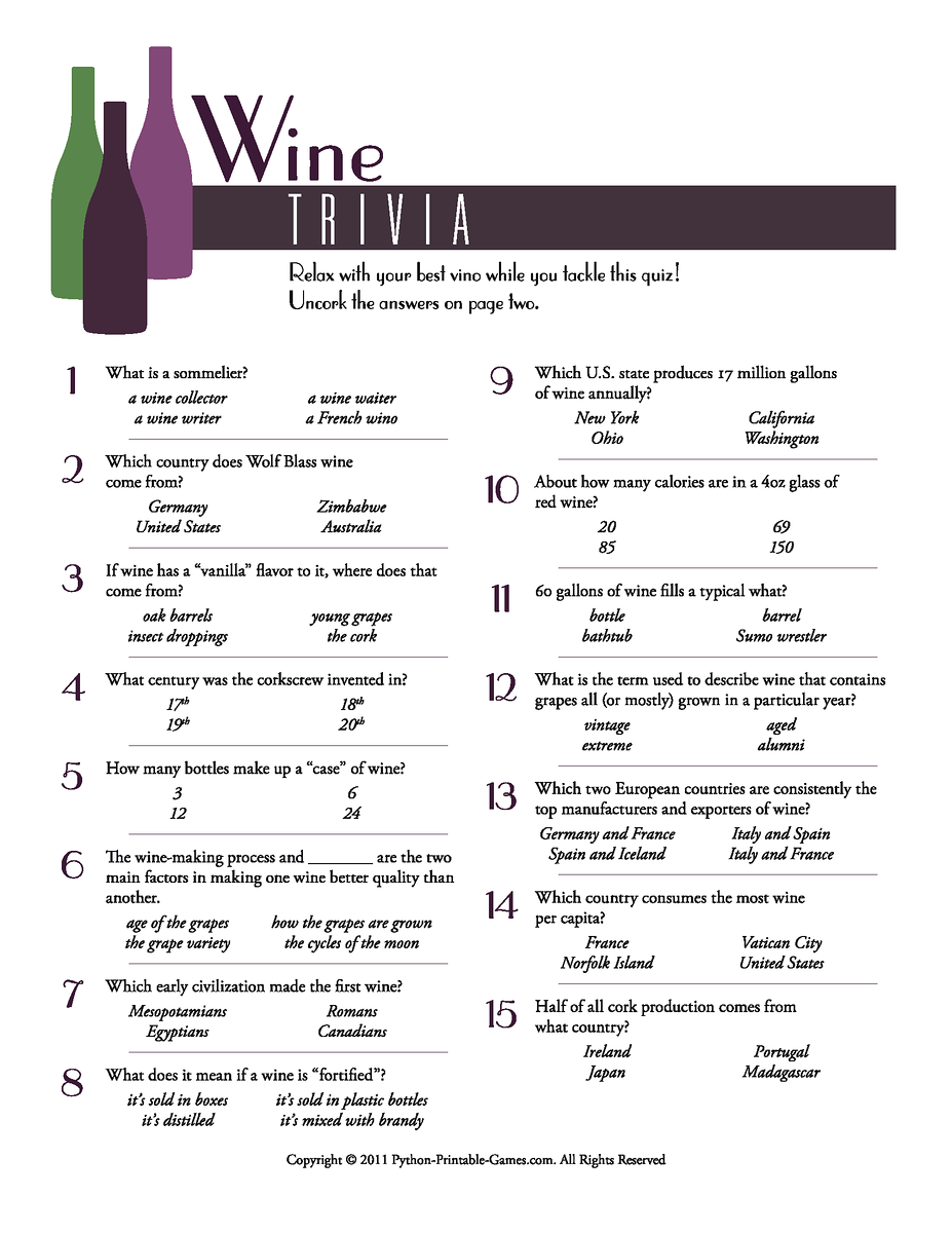 It's just a graphic of Exceptional Printable Wine Trivia Questions and Answers