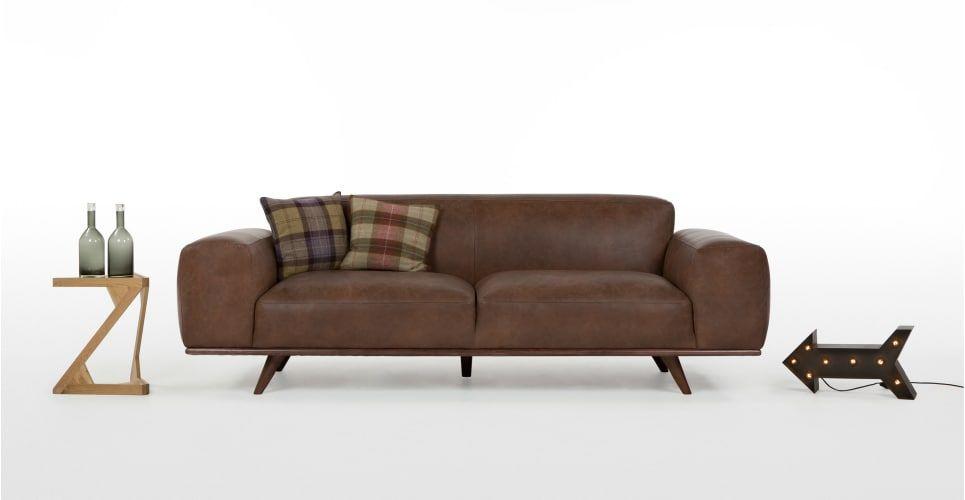Otto 3 Sitzer Sofa Premium Leder In Braun Flat 2017 18 3 Seater Sofa Sofa Leather