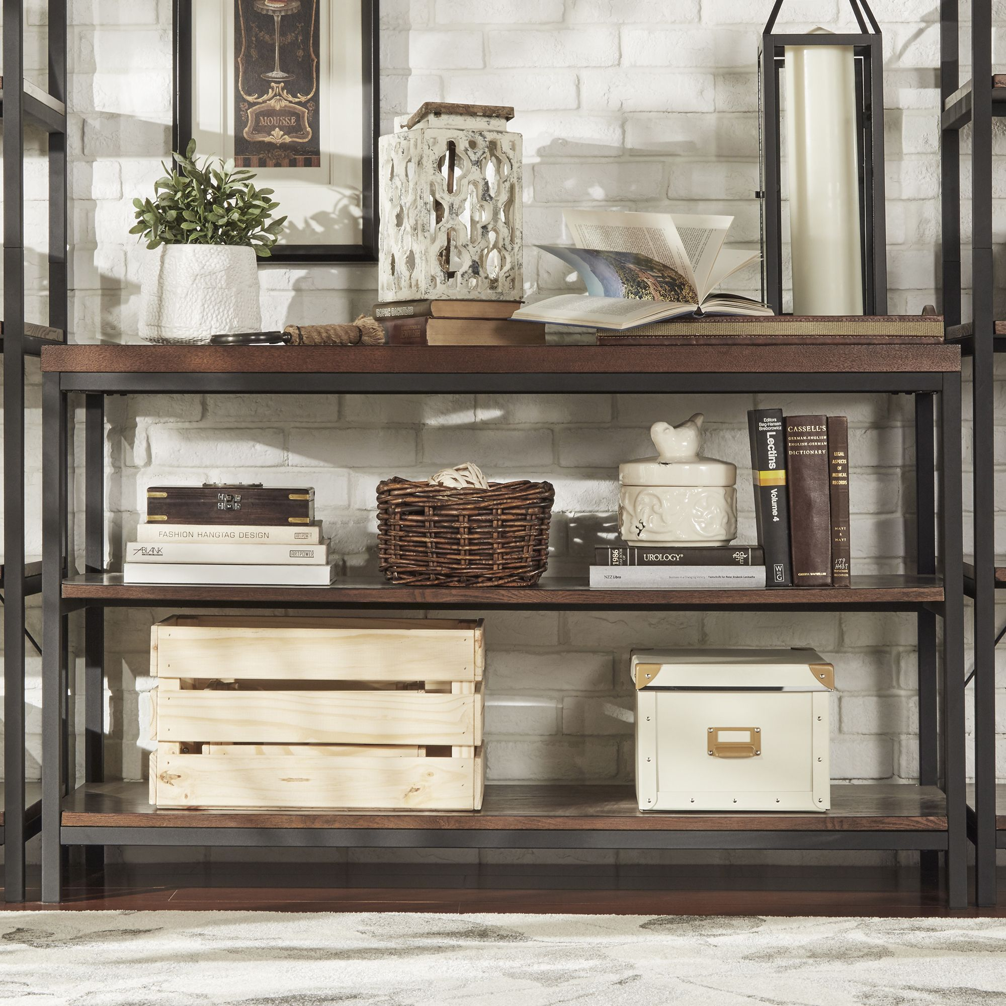 $270 Somme Rustic Metal Frame Storage Sofa Table TV Stand