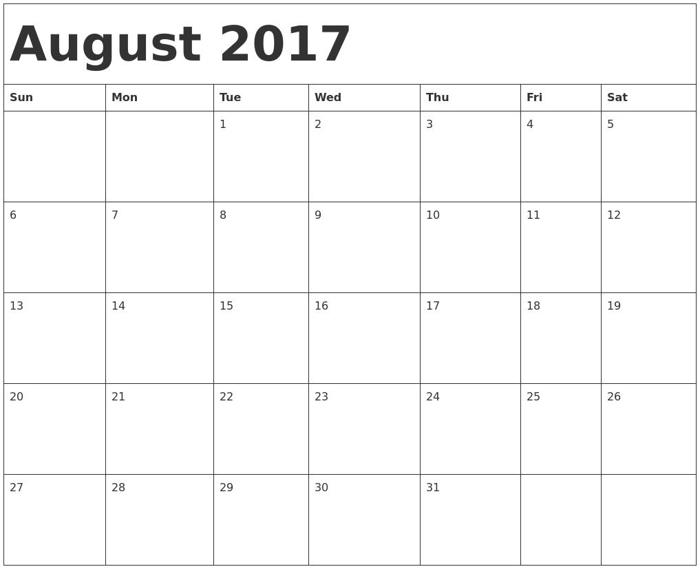 cute august 2017 calendar august 2017 calendar pinterest daily printable calendar. Black Bedroom Furniture Sets. Home Design Ideas