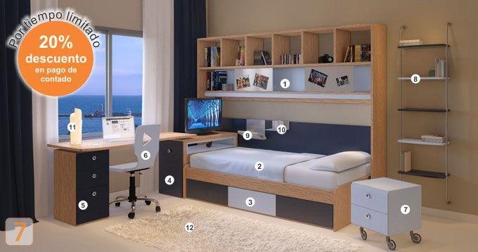 Mueble: (Código R17-57) cama-cajonera-escritorio-biblioteca-sillas ...