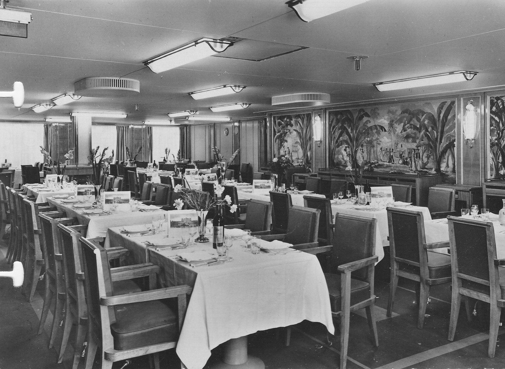 The Second Class Salle a Manger (Dining Room) of the steamship ...