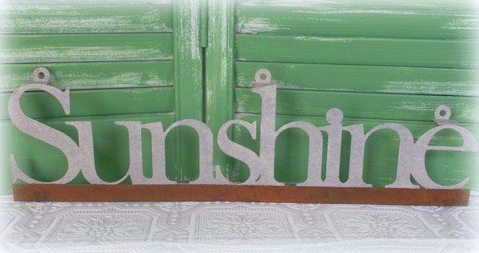 Tin Word SUNSHINE Sign / Door Sitter Tin Sunshine Wall Word Country Decor #summerdecor