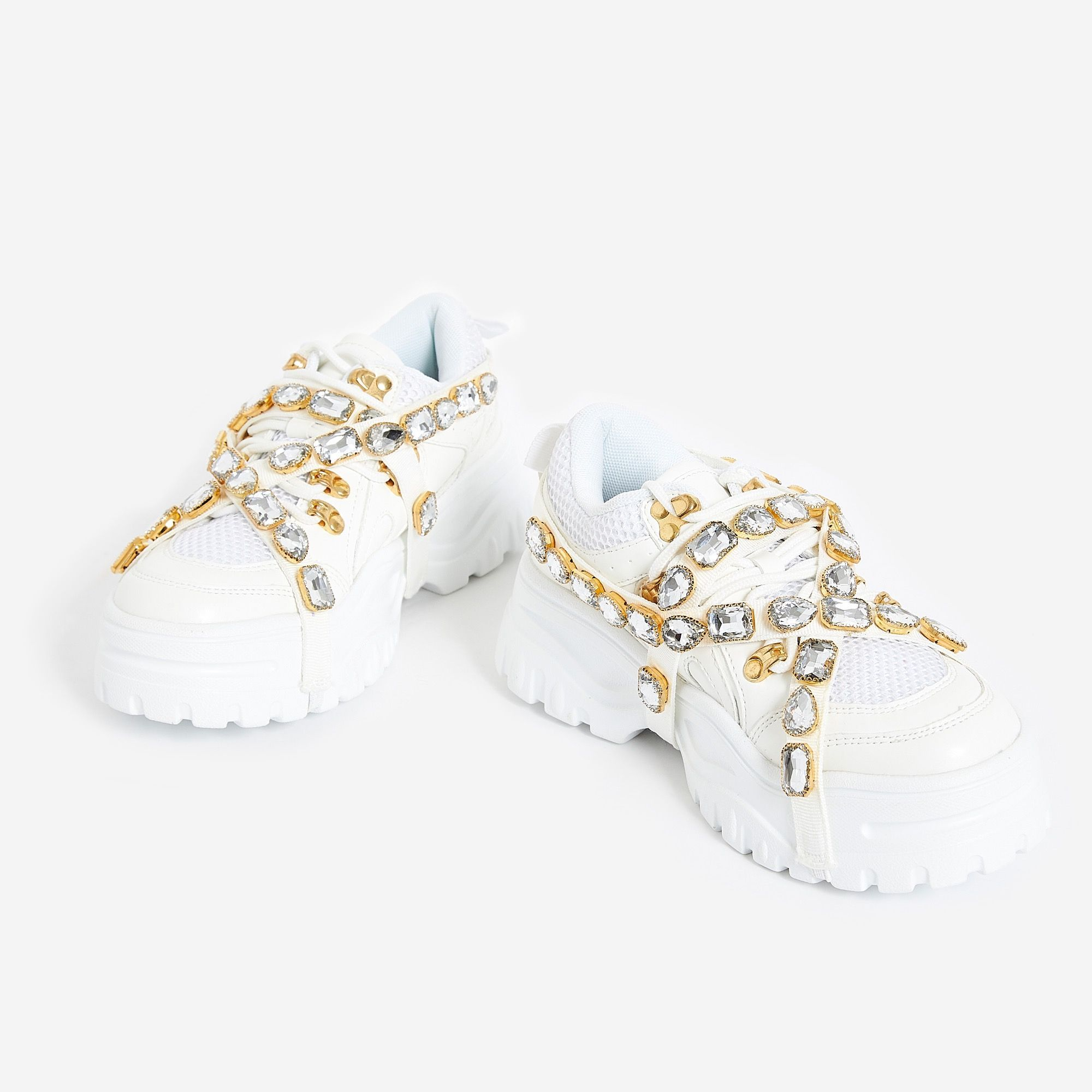 Ego Fever Gem Embellished Trainer In White Faux Leather