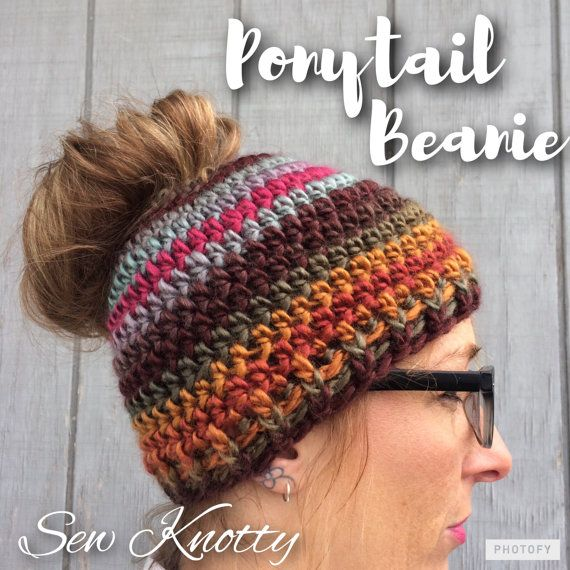 Ponytail Hat, Pony Tail Beanie, Crochet Ponytail Hat | Mützen ...