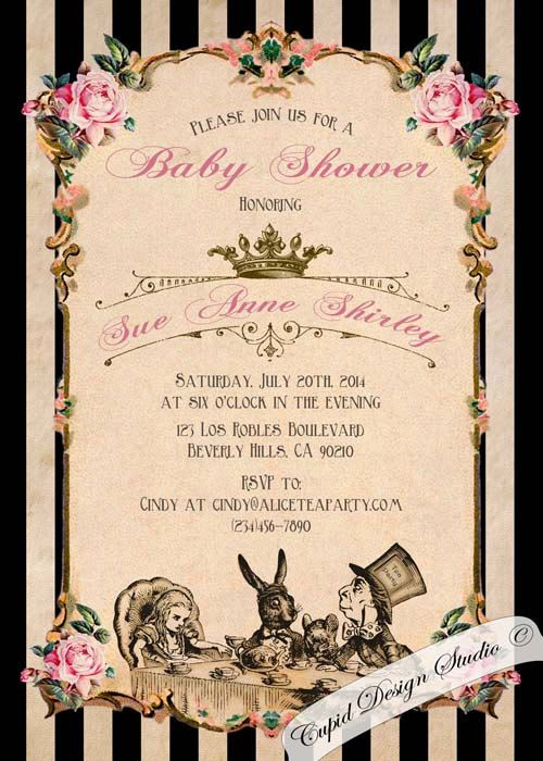 Mad Hatter Baby Shower Invites