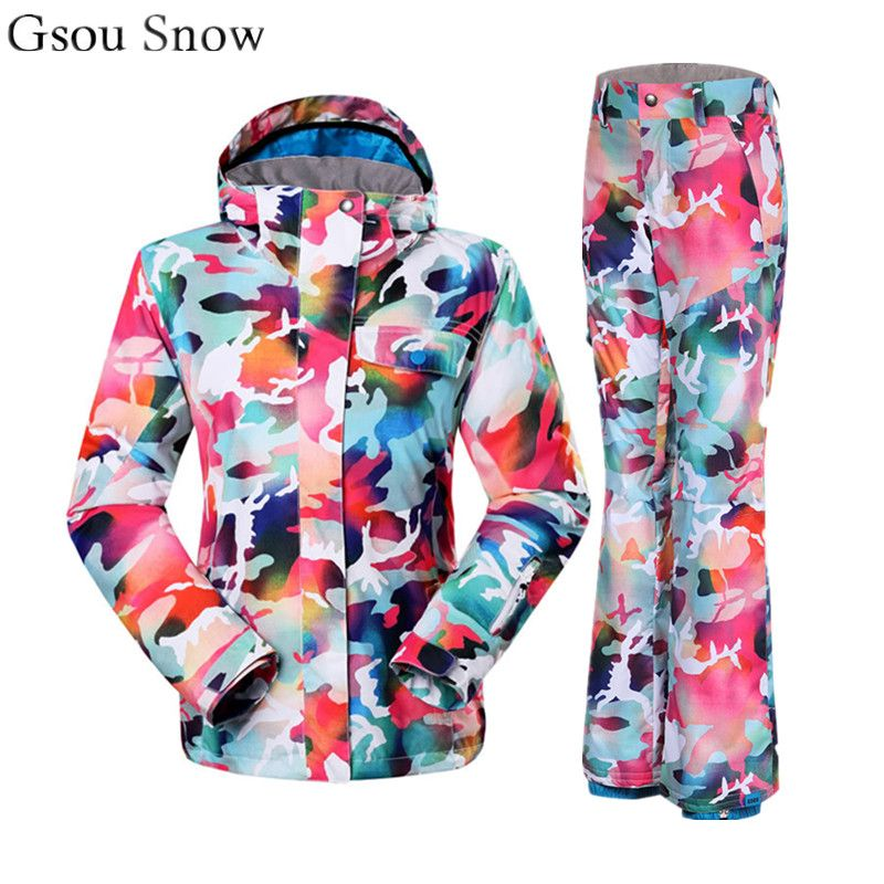 Gsou Snow Colorful ski suit female cool snowboard jacket and