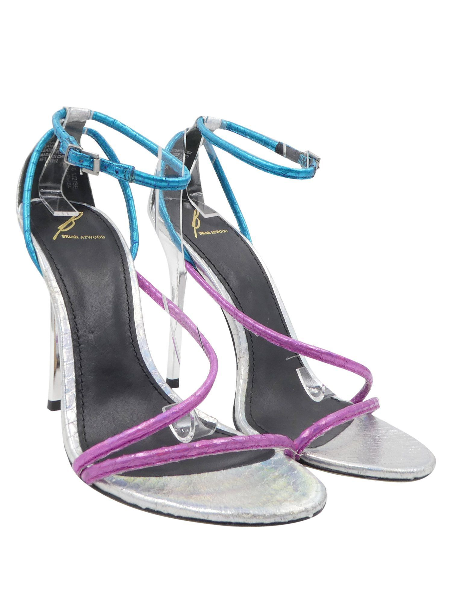 23c6830b4 Brian Atwood Silver Blue Pink Labera Hologram Snakeskin Leather Sz 8.5 Heels