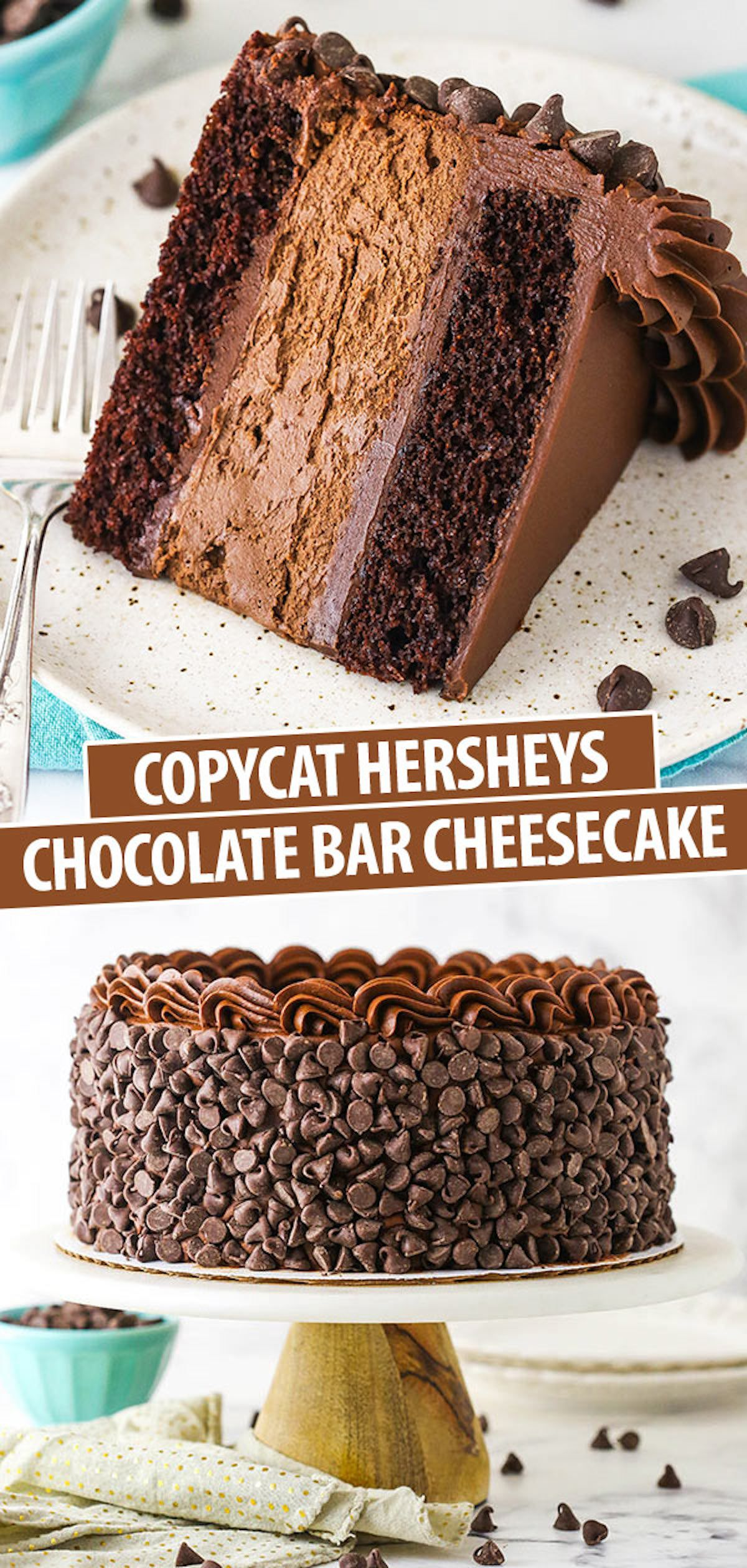 This homemade Hershey's Chocolate Bar Cheesecake is one decadent dessert! It has two layers of light and moist chocolate cake and a layer of chocolate cheesecake. It's complete with a smooth chocolate buttercream and plenty of chocolate chips! #chocolatecheesecake #chocolatecake #cheesecakefactory #cheesecakerecipes #hersheys #hersheyscake #layercake #chocolatebuttercream