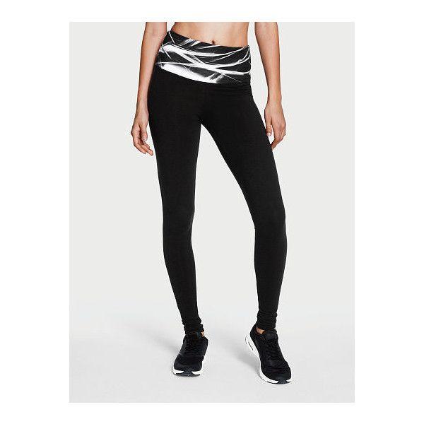 124410e34e4e32 Victoria's Secret Anytime High-rise Legging ($40) ❤ liked on Polyvore  featuring pants, leggings, print, short pants, wide-waistband leggings,  fold over ...