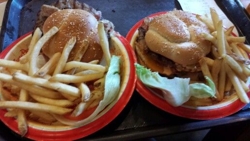 Angus cheeseburgers and fries from Backlot Express in Hollywood Studios.