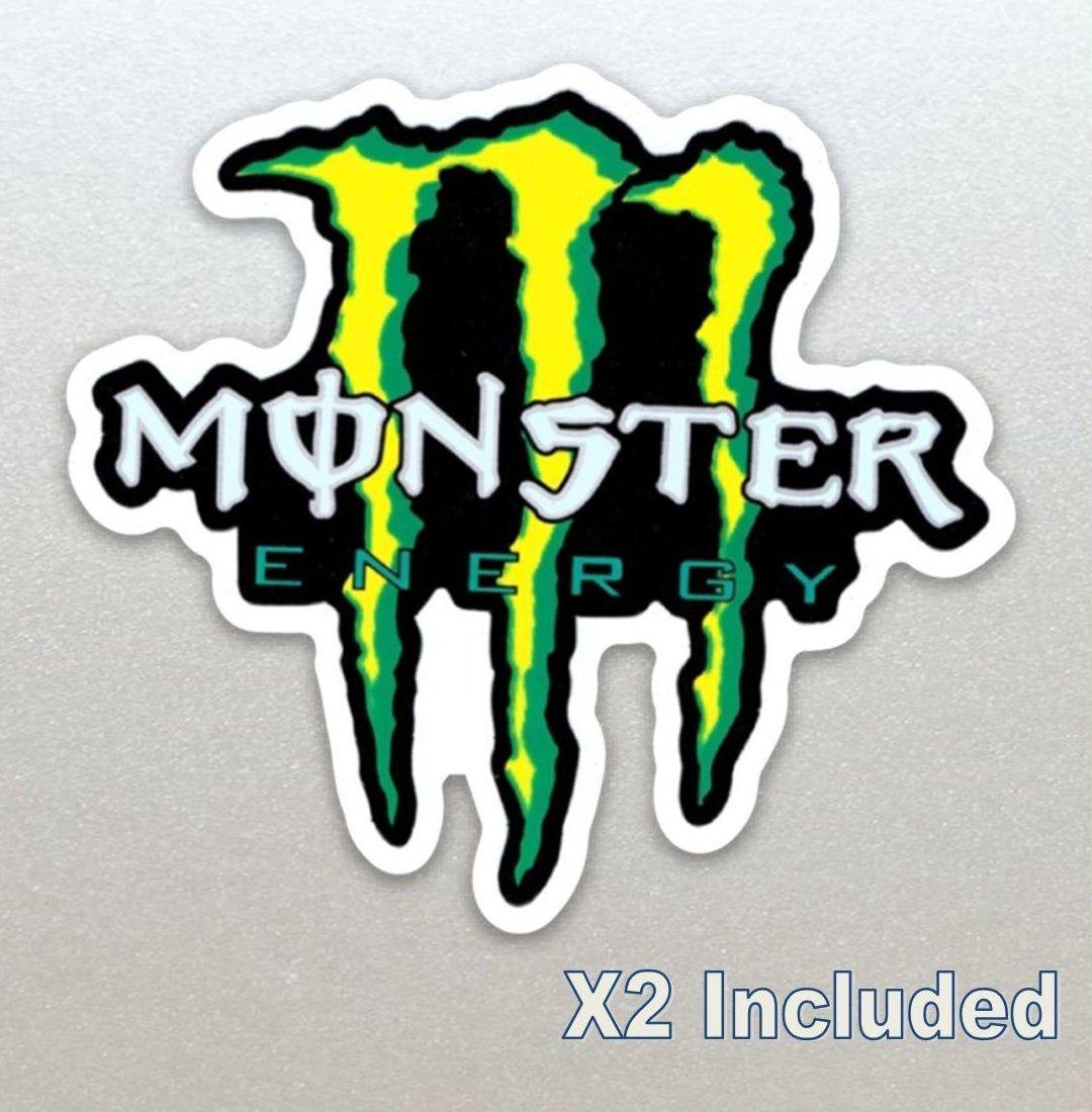 2 X Monster Energy Racing Callout Stickers Moto Bike Kart Car