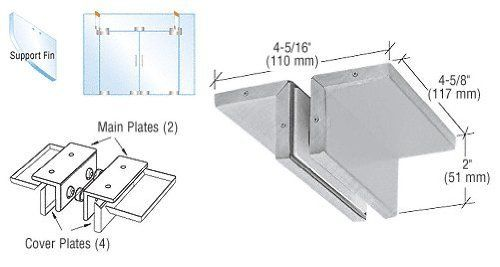 CRL Brushed Stainless Ceiling Mounted Support Fin Bracket