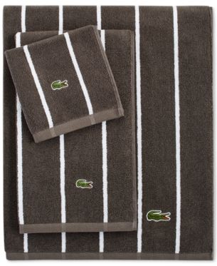 Lacoste Sport Stripe 30 X 52 Bath Towel Gray Striped Bath