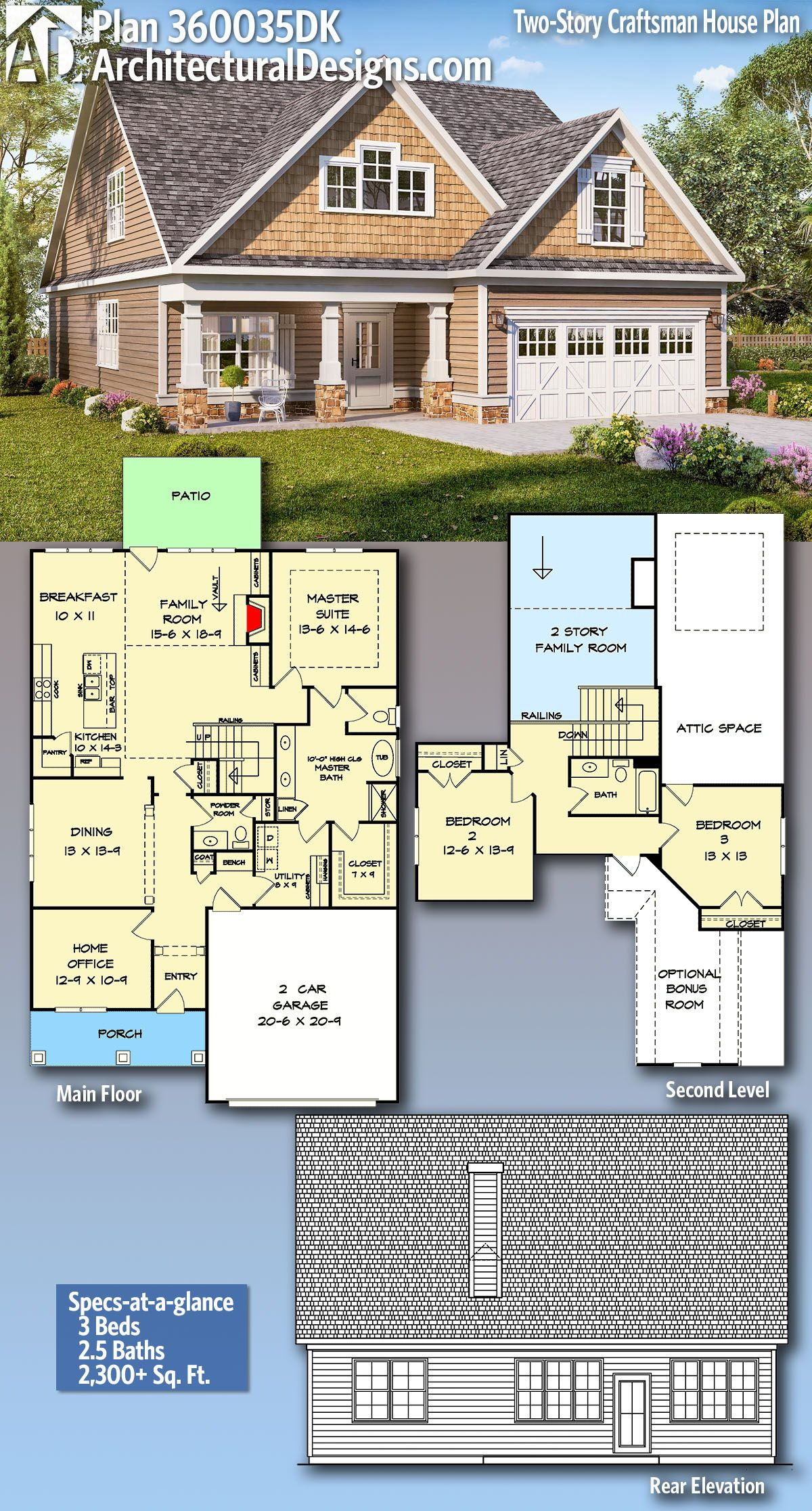 Plan 360035dk Two Story Craftsman House Plan With Office And Main Level Master In 2020 Craftsman House Craftsman House Plans Craftsman House Plan