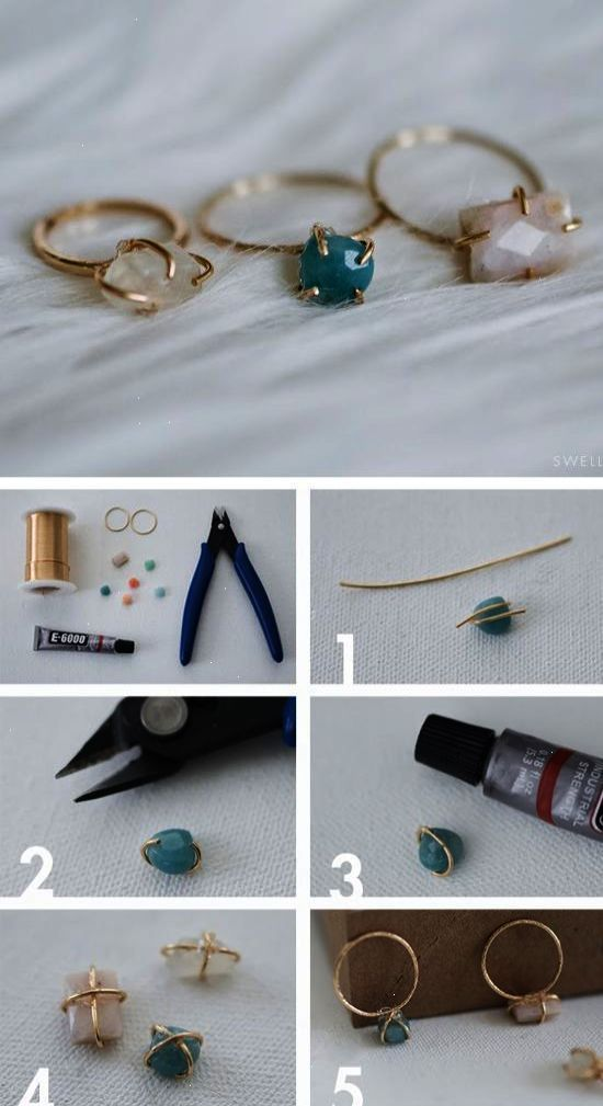 DIY Jewellery - make your own dainty stone set wire ring - craft project; handma...        Bijoux d
