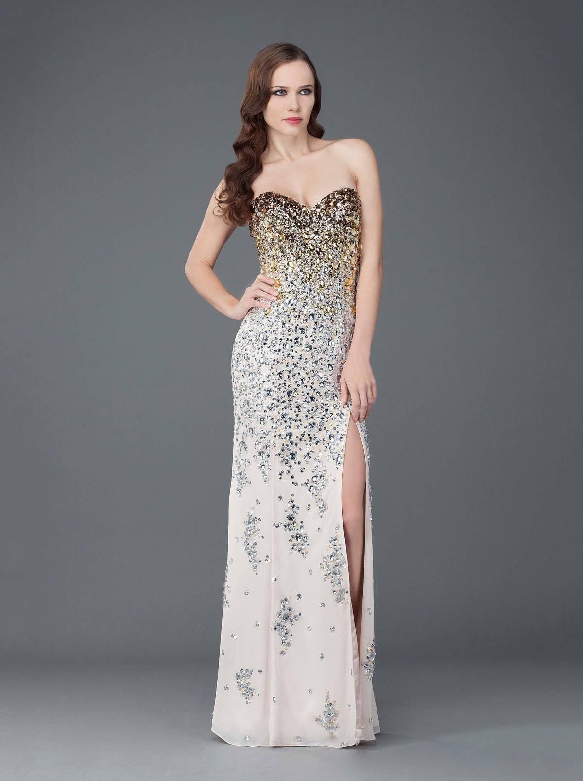 b46394267de Darius Cordell Fashion Ltd has strapless evening gowns like this one that  is fully beaded and has a slit on one side.
