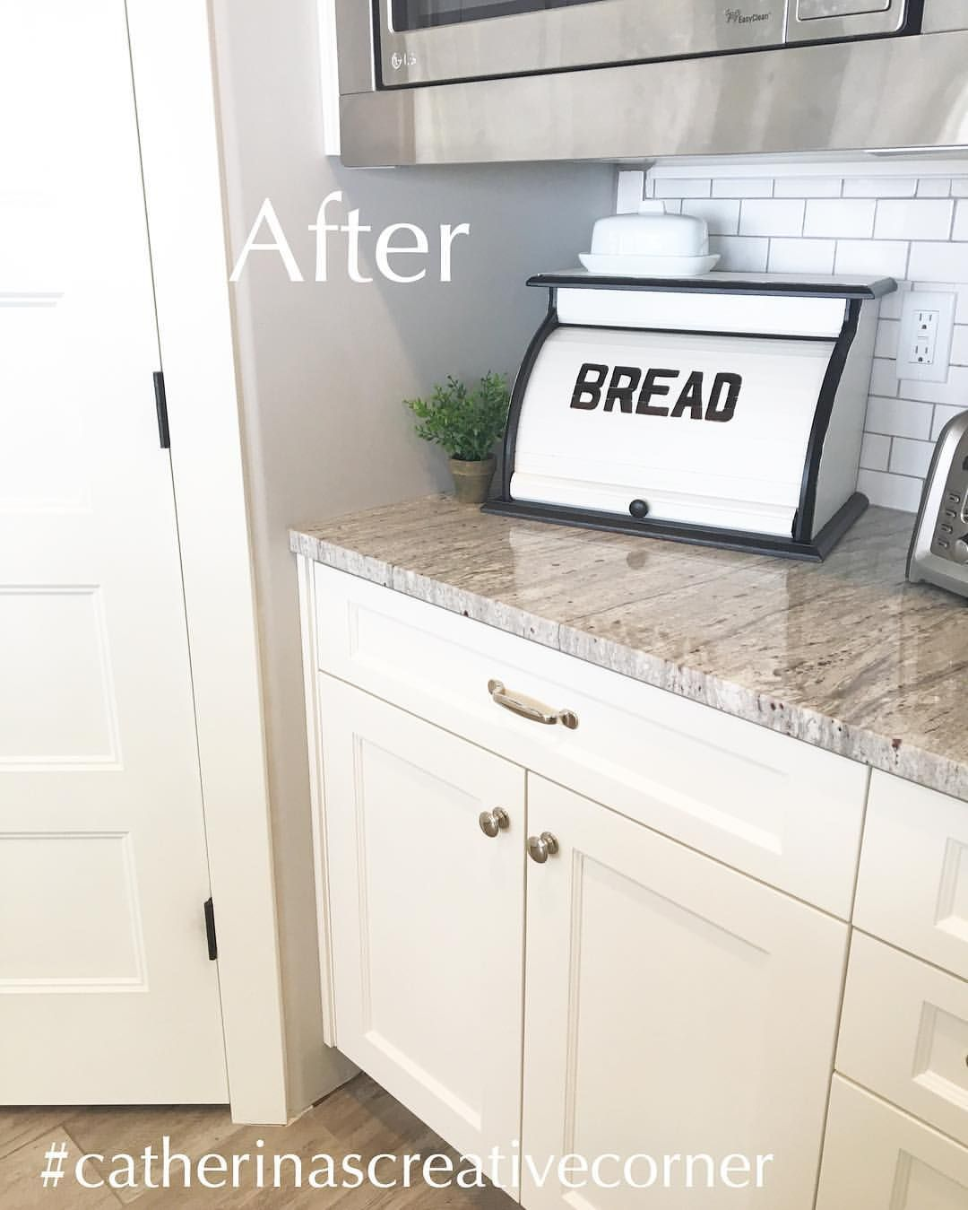 Vintage Modern Farmhouse Breadbox Makeover 18 Likes Black And White Breadbox Farmhouse Bread Boxes Vintage Bread Boxes Modern Bread Boxes
