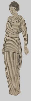 Vintage Fashion Library - 1910s Titanic Era Vintage Ladies Tunic Tea Ruffled Collar Peplum Hobble Dress Pattern 8211