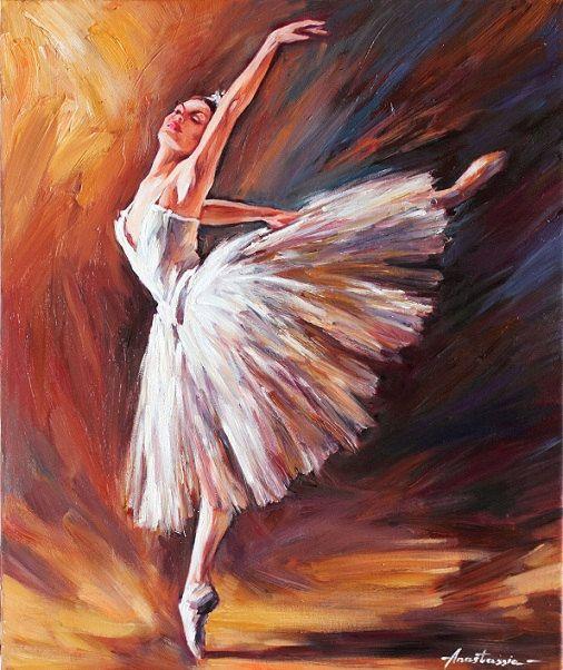 Ballerina Art Original Oil Painting on Canvas by
