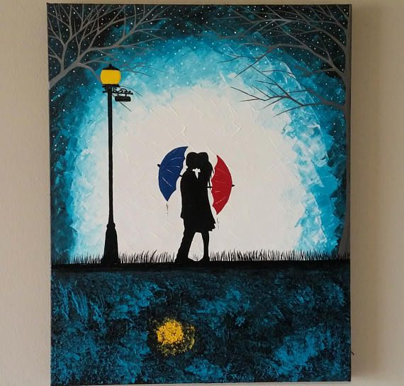 original couple in rain paintingcouple kissing in the