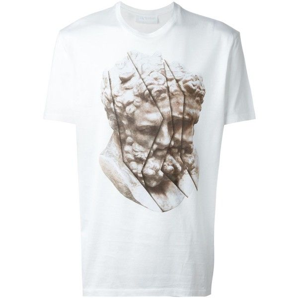 Neil Barrett Statue Print T-Shirt (1,520 CNY) ❤ liked on Polyvore featuring men's fashion, men's clothing, men's shirts, men's t-shirts and white