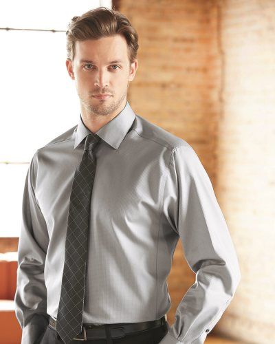 84eb9bbffe14 Calvin Klein Slim Fit Non-Iron Dobby Pindot Shirt Ice Grey ...