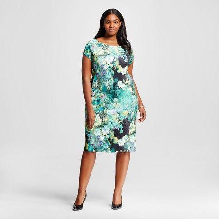 women's plus size floral print scuba dress green - sami & dani