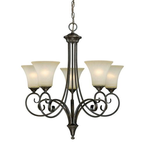 Corinth 5 light 26 dark forum patina finish with gold accents chandelier at menards