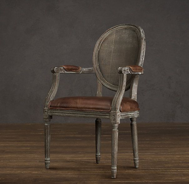 Vintage French Round Cane Back Leather Armchair Decor