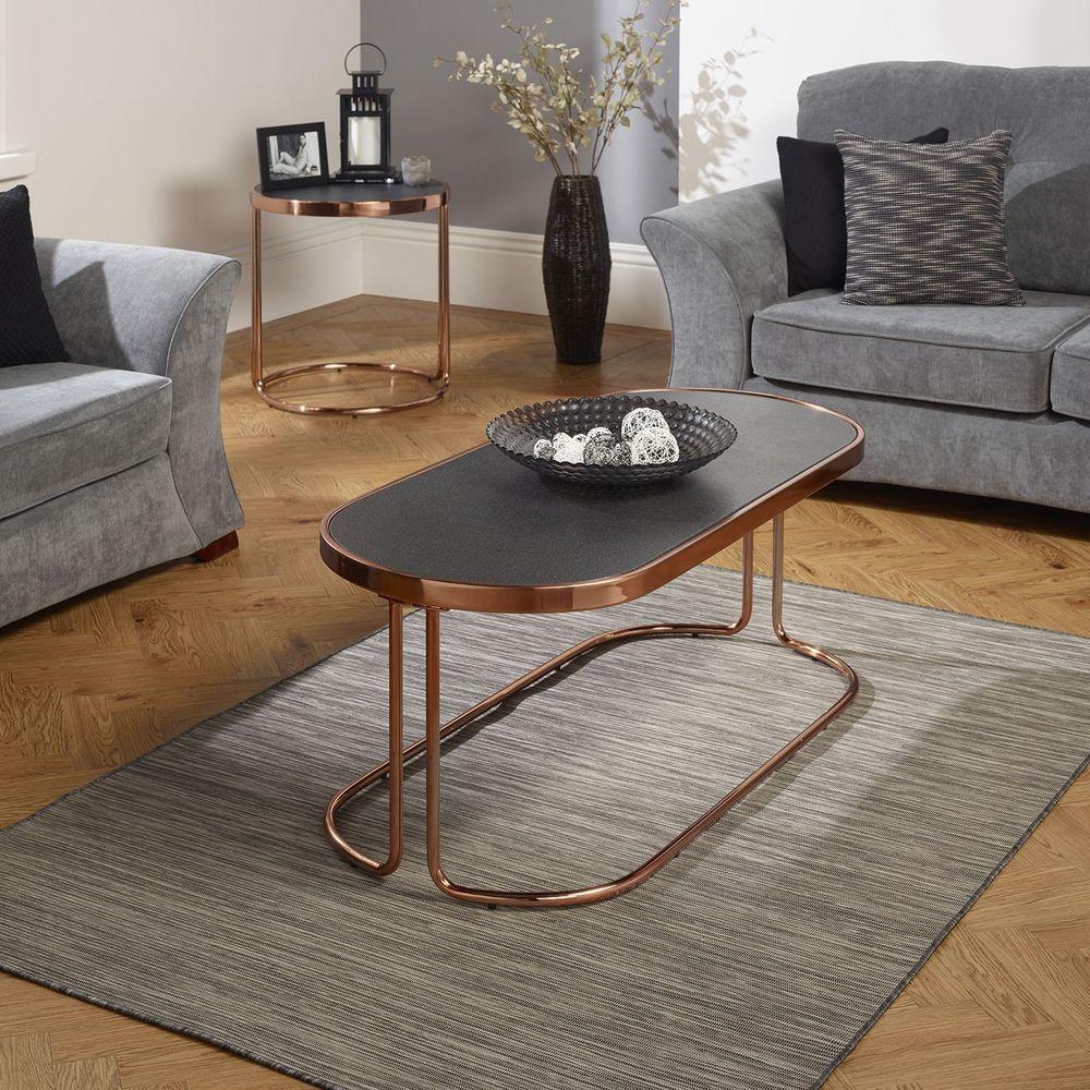 Black Glass Coffee Table Oval Shape Rose Gold Metal Frame Living