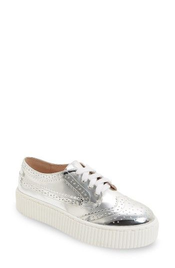 SHELLYS LONDON Dilys Silver Leather Lace Up Wingtip Oxford Platform Sneaker