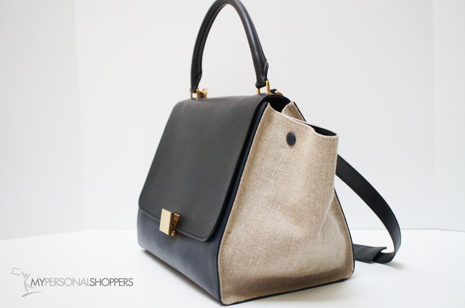 Celine Tri-Color Black Navy Leather Beige Canvas Sides Trapeze Satchel Bag