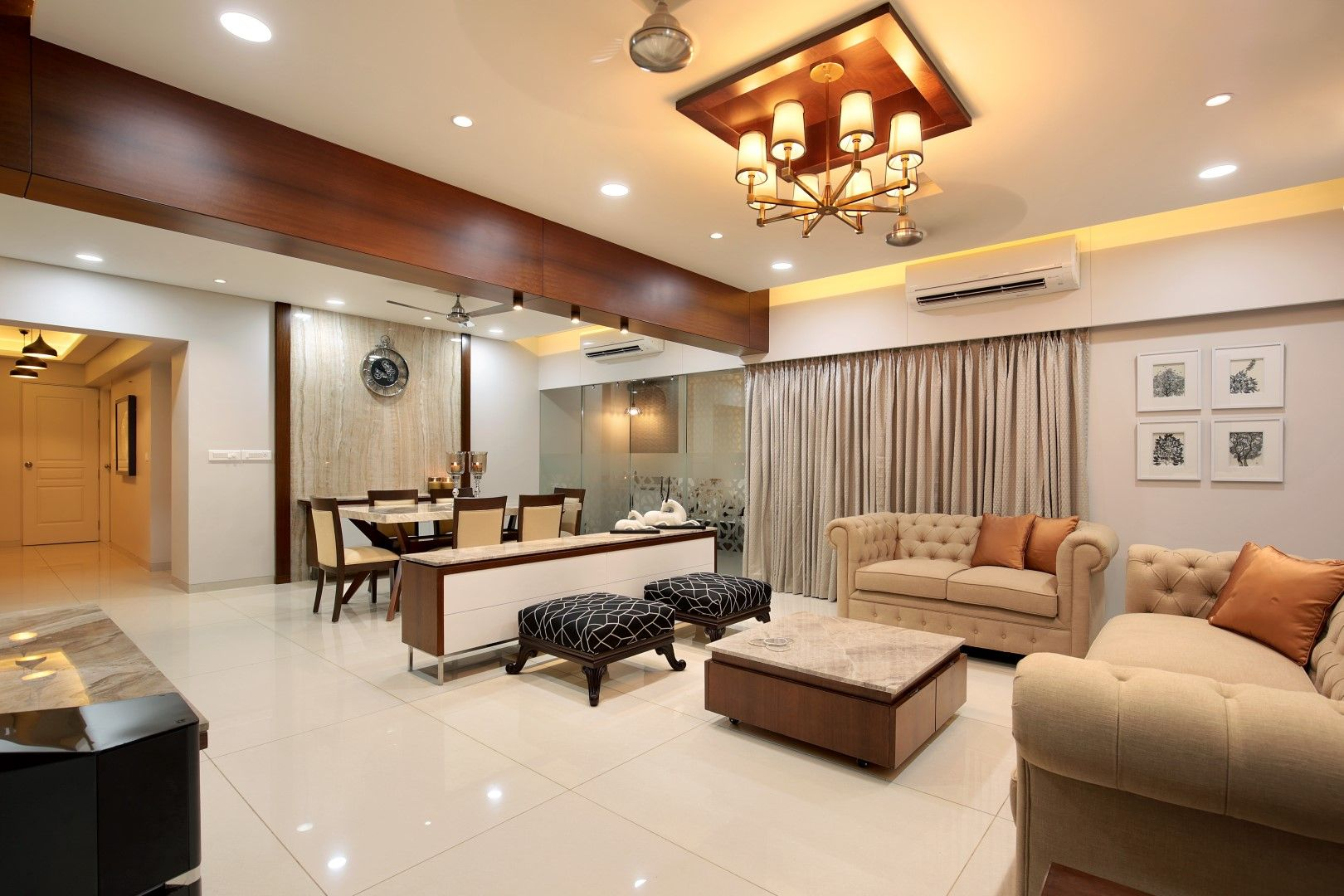 3 Bhk Flat Interiors The Oak Woods Vadodara Studio7 The Architects Diary Casual Living Room Furniture Flat Interior Apartment Interior Design
