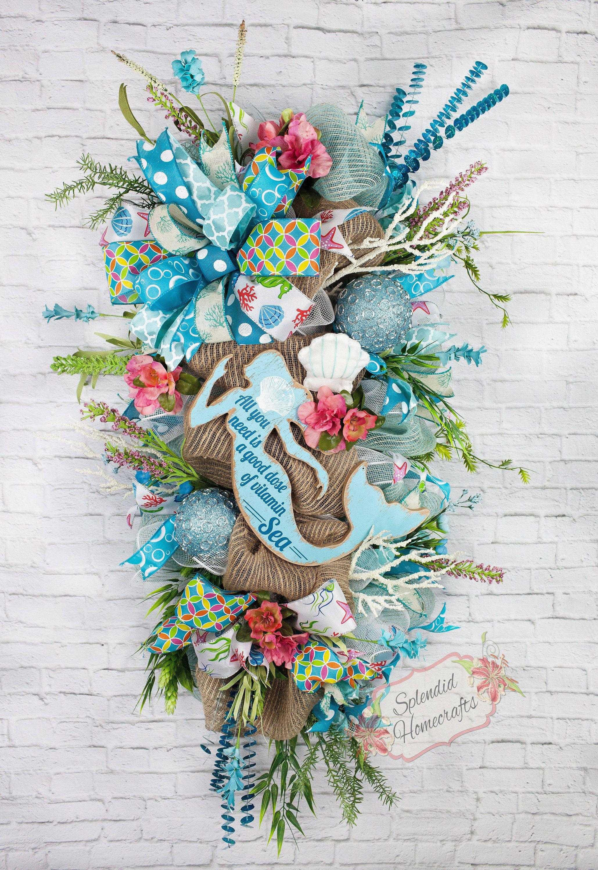 Nautical Wreath Mermaid Wreath Summer Door Swag Beach Wreath