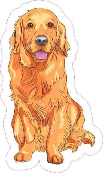 3in X 5in Golden Retriever Sticker Dog Vector
