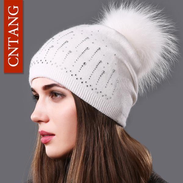 d85d2bf10d624 Advertisement  Cntang Brand Women Wool Knitted Caps Fashion Autumn Winter  Warm Hats Rhinestone Beanies Natural Raccoon Fur