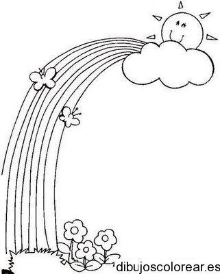 Dibujo de un arcoiris con flores y un sol radiante | Aguja mágica ...