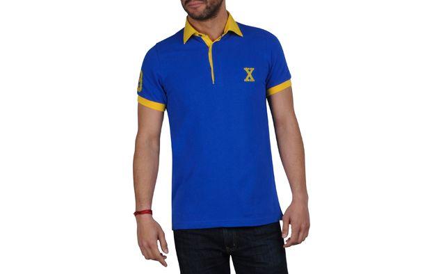 JaunePolos Polo Homme Bleu Doublure Courtes Manches R4ALj5