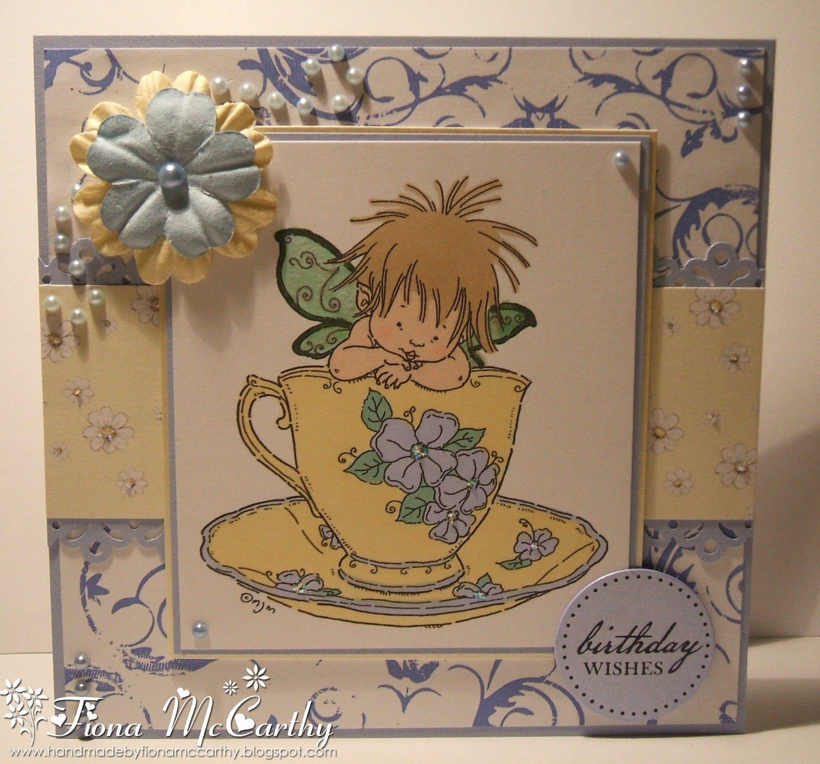 Free Hand made card with Baby Fairy