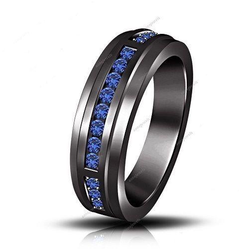 Blue Sapphire Wedding Rings For Men Fashiontumb