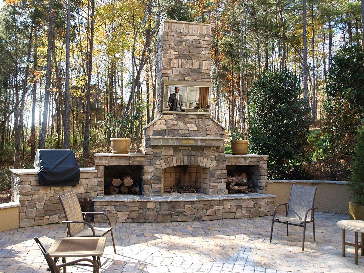 Skyvue Outdoor Tvs In Your Outdoor Kitchen Skyvue Com Outdoor Stone Fireplaces Outdoor Fireplace Designs Outdoor Fireplace Plans